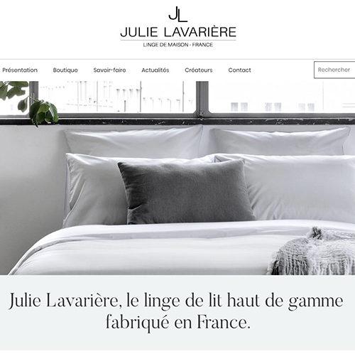 Visuel de la page d'accueil du site marchand de Julie Lavarière